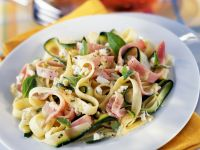 Ribbon Pasta with Cured Ham Slices and Soft Cheese recipe