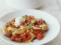 Ribbon Pasta with Mince Meat and Tomato Sugo recipe