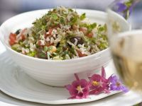 Rice and Chickpea Salad with Alfalfa Sprouts, Olives and Tomatoes recipe