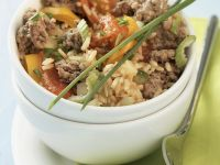 Rice and Vegetable Sauté with Ground Meat recipe