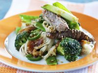 Rice Noodles with Beef and Broccoli recipe