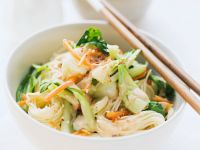Rice Noodles with Bok Choy and Carrots recipe