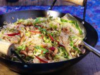 Rice Noodles with Shrimp, Pork and Vegetables recipe