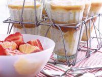 Rice Pudding with Caramel Sauce and Fruit Salad recipe