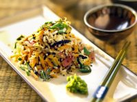 Rice Salad with Asian Vegetables, Black Sesame and Wasabi recipe