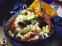 Rice Salad with Avocado, Beans and Salami recipe