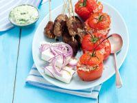 Rice-Stuffed Tomatoes with Kofta Skewers and Feta recipe