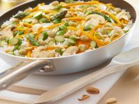 Rice with Green Asparagus, Carrots, Pine Nuts and Peanuts recipe