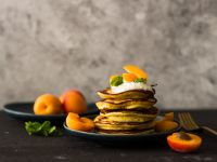 Ricotta Pancakes with Apricots recipe