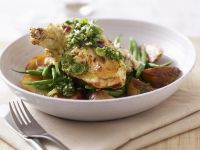 Ricotta Filled Chicken Thighs with Vegetables recipe