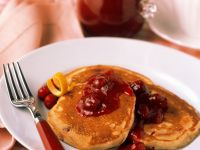 Ricotta Pancakes with Cranberry Sauce recipe