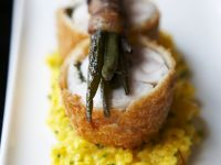 Rabbit on Risotto Milanese with Pancetta Green Beans recipe