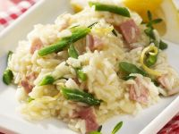 Risotto with Ham and Green Beans recipe