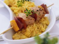 Risotto with Salmon Skewers recipe