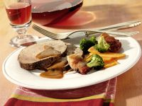 Roast Beef with Bacon-wrapped Prunes recipe