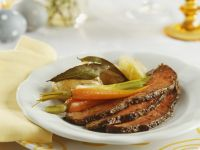 Roast Beef with Carrots, Scallions and Potatoes recipe