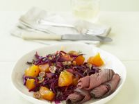 Roast Beef with Persimmon-red Cabbage Salad recipe
