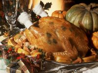 Roast Capon with Stuffing, Apples and Chanterelles recipe
