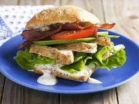 Roast Chicken, Bacon, and Avocado Ciabatta Sandwich recipe