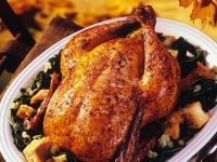 Roast Chicken with Chard and Gravy recipe