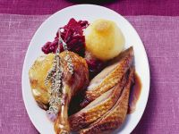 Roast Duck and Gravy with Red Cabbage and Dumplings recipe