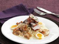 Roast Duck Breast with Sauerkraut, Chanterelles and Quail Eggs recipe