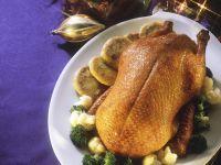 Roast Duck with Broccoli and Cauliflower recipe