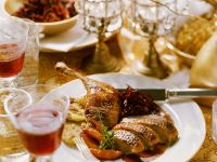 Roast Duck with Cabbage and Potato Cakes recipe