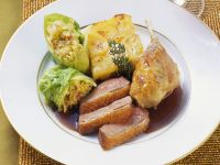 Roast Duck with Cabbage Roulades and Potato Gratin recipe