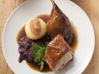 Roast Duck with Red Cabbage and Dumplings recipe
