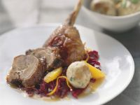 Roast Goose with Pretzel Dumplings and Red Cabbage recipe