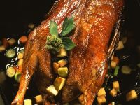 Roast Goose with Quince and Scallions recipe