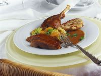 Roast Goose with Savoy Cabbage and Bread Dumplings recipe
