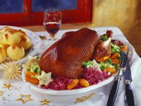 Roast Goose with Sweet Potato Dumplings and Cabbage