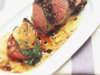 Roast Lamb with Vegetables and Pesto recipe