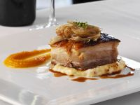 Gourmet Pork with Puree and Soft Cornmeal recipe