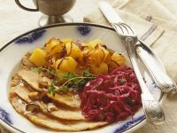 Roast Pork Dinner with Red Cabbage and Pumpkin recipe