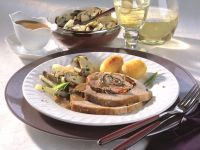 Roast Pork in White Wine and Mustard Sauce with Porcini Salsify Vegetables recipe