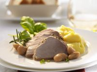Roast Pork in with Beans and Mashed Potatoes recipe