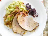Roast Pork Loin and Potato-broccoli Puree recipe
