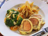 Roast Pork Tenderloin with Potato Noodles and Vegetables recipe