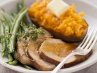 Roast Pork with Beans and Sweet Potatoes recipe