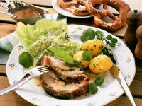 Roast Pork with Cabbage Salad and Potatoes recipe