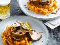 Roast Pork with Carrot-Potato Puree and Beer Sauce recipe