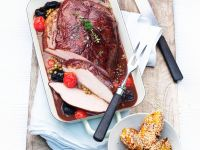 Roast Pork with Prunes and Polenta Dumplings recipe