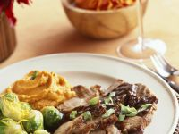 Roast Pork with Sweet Potato Puree and Brussels Sprouts recipe