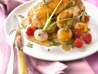 Roast Poussin with Raspberries and Turnips recipe