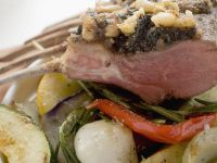 Roast Rack of Lamb with Pesto Crust and Vegetables