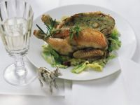 Roast Stuffed Spring Chickens with Savoy Cabbage recipe