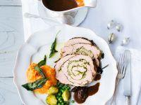 Roast Stuffed Turkey with Mashed Sweet Potatoes recipe